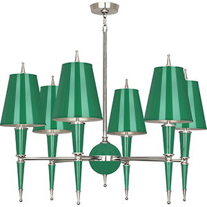 Jonathan Adler Versailles Emerald Lacquered Paint with Polished Nickel Accents 36-Inch Six-Light Chandelier