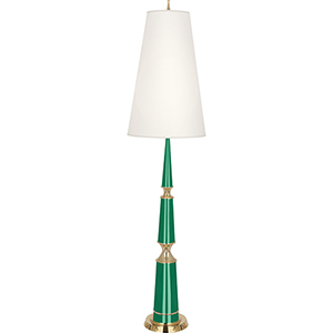 Jonathan Adler Versailles Emerald Lacquered Paint with Modern Brass Accents 68-Inch One-Light Floor Lamp
