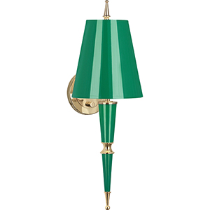 Jonathan Adler Versailles Emerald Lacquered Paint with Modern Brass Accents Two-Inch One-Light Wall Sconce