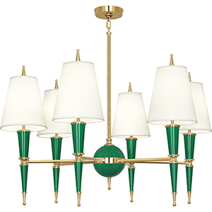 Jonathan Adler Versailles Emerald Lacquered Paint with Modern Brass Accents 36-Inch Six-Light Chandelier
