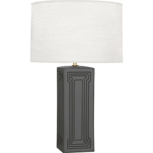 Williamsburg Nottingham Lamp Black Glazed Ceramic with Modern Brass Accents 30-Inch One-Light Table Lamp