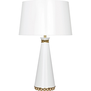 Pearl Lily Lacquered Paint with Modern Brass Accents 29-Inch One-Light Table Lamp