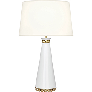 Pearl Lily Lacquered Paint and Modern Brass Accents 29-Inch One-Light Table Lamp