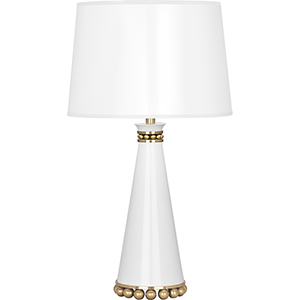 Pearl Lily Lacquered Paint with Modern Brass Accents 20-Inch One-Light Table Lamp