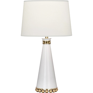 Pearl Lily Lacquered Paint and Modern Brass Accents 20-Inch One-Light Table Lamp