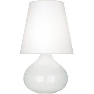 June Lily Glazed Ceramic One-Light Accent Lamp With Oyster Linen Shade