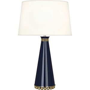 Pearl Midnight Blue Lacquered Paint with Modern Brass Accents 29-Inch One-Light Table Lamp