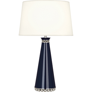 Pearl Midnight Blue Lacquered Paint with Polished Nickel Accents 29-Inch One-Light Table Lamp