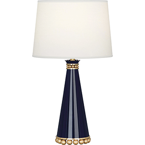 Pearl Midnight Blue Lacquered Paint with Modern Brass Accents 20-Inch One-Light Table Lamp