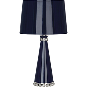Pearl Midnight Blue Lacquered Paint with Polished Nickel Accents 20-Inch One-Light Table Lamp