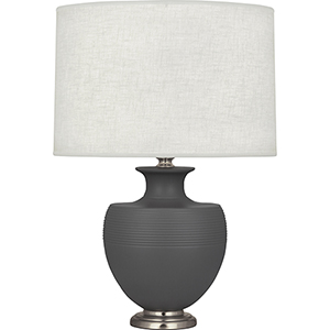 Michael Berman Atlas Matte Ash Glazed Ceramic with Dark Antique Nickel Accents 25-Inch One-Light Table Lamp