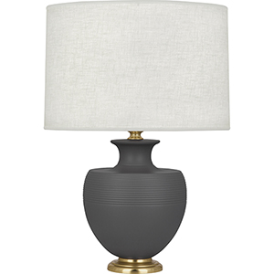 Michael Berman Atlas Matte Ash Glazed Ceramic with Modern Brass Accents 25-Inch One-Light Table Lamp