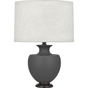 Michael Berman Atlas Matte Ash Glazed Ceramic with Deep Patina Bronze Accents 25-Inch One-Light Table Lamp
