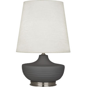 Michael Berman Nolan Ash Glazed One-Light Table Lamp With Oyster Linen Shade