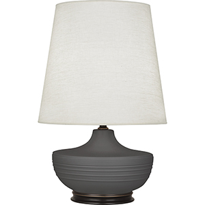 Michael Berman Nolan Matte Ash Glazed Ceramic with Deep Patina Bronze Accents 28-Inch One-Light Table Lamp