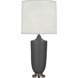 Michael Berman Hadrian Matte Ash Glazed Ceramic with Dark Antique Nickel Accents 29-Inch One-Light Table Lamp