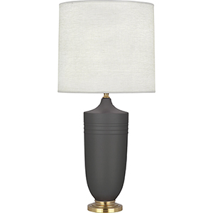 Michael Berman Hadrian Matte Ash Glazed Ceramic with Modern Brass Accents 29-Inch One-Light Table Lamp