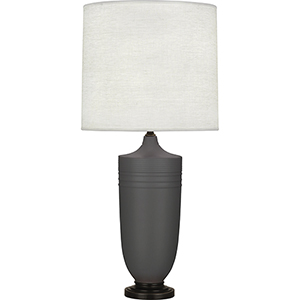 Michael Berman Hadrian Matte Ash Glazed Ceramic with Deep Patina Bronze Accents 29-Inch One-Light Table Lamp