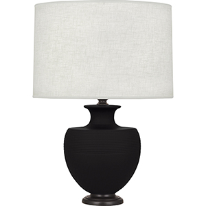 Michael Berman Atlas Matte Dark Coal Glazed Ceramic with Deep Patina Bronze Accents 25-Inch One-Light Table Lamp