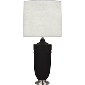 Michael Berman Hadrian Matte Dark Coal Glazed Ceramic with Dark Antique Nickel Accents 29-Inch One-Light Table Lamp