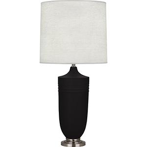Michael Berman Hadrian Matte Dark Coal Glazed Ceramic with Dark Antique Nickel Accents 29-Inch One-Light Table Lamp