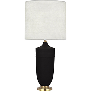 Michael Berman Hadrian Matte Dark Coal Glazed Ceramic with Modern Brass Accents 29-Inch One-Light Table Lamp