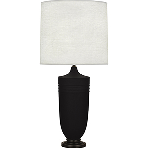 Michael Berman Hadrian Matte Dark Coal Glazed Ceramic with Deep Patina Bronze Accents 29-Inch One-Light Table Lamp