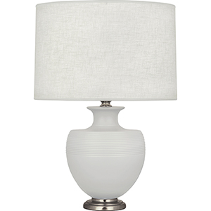 Michael Berman Atlas Matte Dove Glazed Ceramic with Dark Antique Nickel Accents 25-Inch One-Light Table Lamp