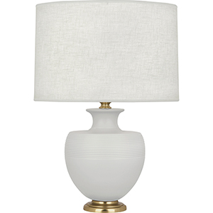 Michael Berman Atlas Matte Dove Glazed Ceramic with Modern Brass Accents 25-Inch One-Light Table Lamp