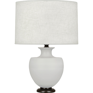 Michael Berman Atlas Matte Dove Glazed Ceramic with Deep Patina Bronze Accents 25-Inch One-Light Table Lamp