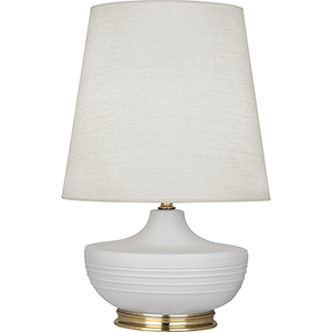 Michael Berman Nolan Matte Dove Glazed Ceramic with Modern Brass Accents 28-Inch One-Light Table Lamp