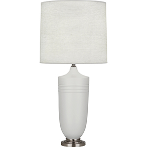 Michael Berman Hadrian Matte Dove Glazed Ceramic with Dark Antique Nickel Accents 29-Inch One-Light Table Lamp