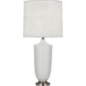 Michael Berman Hadrian Matte Dove Glazed Ceramic with Dark Antique Nickel Accents 29-Inch One-Light Table Lamp