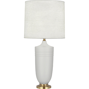 Michael Berman Hadrian Matte Dove Glazed Ceramic with Modern Brass Accents 29-Inch One-Light Table Lamp