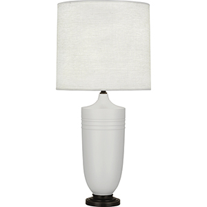Michael Berman Hadrian Matte Dove Glazed Ceramic with Deep Patina Bronze Accents 29-Inch One-Light Table Lamp