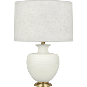Michael Berman Atlas Matte Lily Glazed Ceramic with Modern Brass Accents 25-Inch One-Light Table Lamp