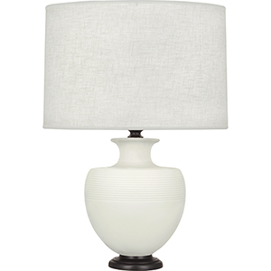 Michael Berman Atlas Matte Lily Glazed Ceramic with Deep Patina Bronze Accents 25-Inch One-Light Table Lamp