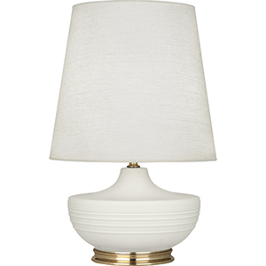 Michael Berman Nolan Matte Lily Glazed Ceramic with Modern Brass Accents 28-Inch One-Light Table Lamp