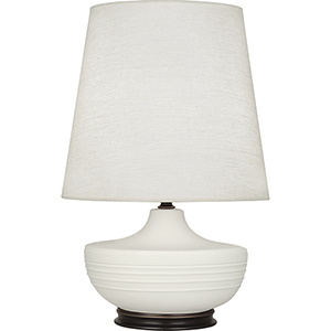 Michael Berman Nolan Matte Lily Glazed Ceramic with Deep Patina Bronze Accents 28-Inch One-Light Table Lamp