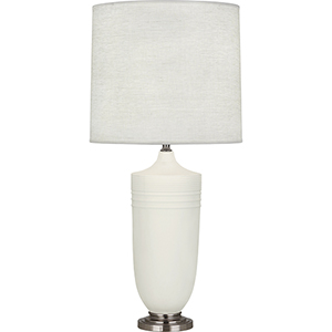 Michael Berman Hadrian Matte Lily Glazed Ceramic with Dark Antique Nickel Accents 29-Inch One-Light Table Lamp
