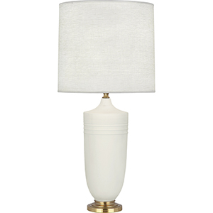 Michael Berman Hadrian Matte Lily Glazed Ceramic with Modern Brass Accents 29-Inch One-Light Table Lamp