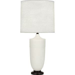 Michael Berman Hadrian Matte Lily Glazed Ceramic with Deep Patina Bronze Accents 29-Inch One-Light Table Lamp
