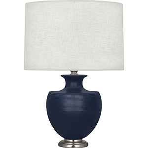 Michael Berman Atlas Matte Midnight Blue Ceramic with Dark Antique Nickel Accents 25-Inch One-Light Table Lamp