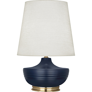 Michael Berman Nolan Matte Midnight Blue Glazed Ceramic and Modern Brass Accents 28-Inch One-Light Table Lamp