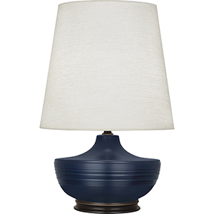Michael Berman Nolan Matte Midnight Blue Glazed Ceramic and Deep Patina Bronze Accents 28-Inch One-Light Table Lamp