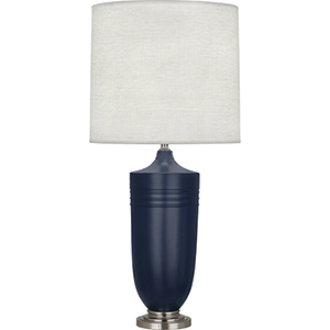 Michael Berman Hadrian Matte Midnight Blue Glazed Ceramic with Dark Antique Nickel Accents 29-Inch One-Light Table Lamp