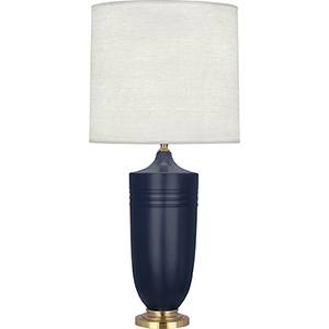 Michael Berman Hadrian Matte Midnight Blue Glazed Ceramic and Modern Brass Accents 29-Inch One-Light Table Lamp