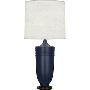 Michael Berman Hadrian Matte Midnight Blue Glazed Ceramic and Deep Patina Bronze Accents 29-Inch One-Light Table Lamp