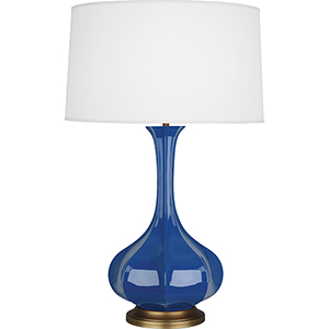 Pike Marine Blue Glazed Ceramic with Aged Brass Accents 32-Inch One-Light Table Lamp