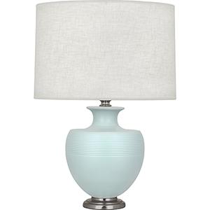 Michael Berman Atlas Matte Sky Blue Glazed Ceramic with Dark Antique Nickel Accents 25-Inch One-Light Table Lamp
